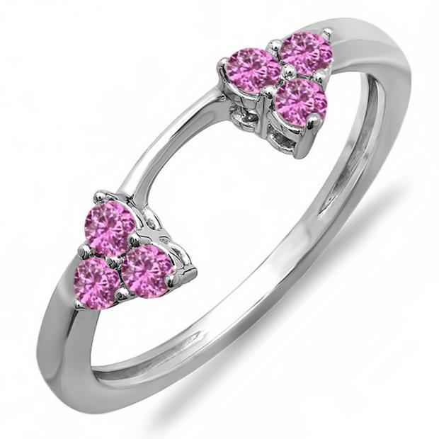 0.30 Carat (ctw) 14K White Gold Round Pink Sapphire Ladies Anniversary Wedding Ring Matching Guard Band 1/3 CT