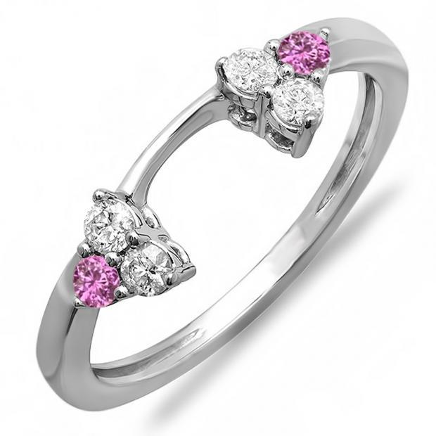 0.30 Carat (ctw) 18K White Gold Round White Diamond And Pink Sapphire Ladies Anniversary Wedding Ring Matching Guard Band 1/3 CT