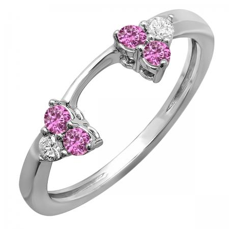 0.30 Carat (ctw) 18K White Gold Round White Diamond And Pink Sapphire Ladies Anniversary Wedding Ring Matching Guard Band 1/3 CT