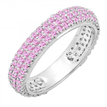 1.30 Carat (ctw) 14K White Gold Round Pink Sapphire Ladies Pave Set Anniversary Wedding Eternity Ring Band 1 1/3 CT