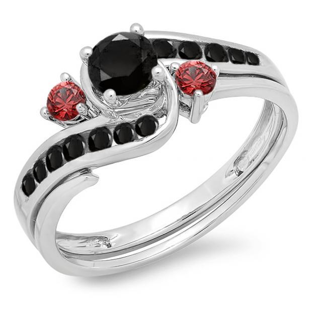 0.90 Carat (ctw) 14K White Gold Round Black Diamond & Ruby Side Stones Ladies Swirl Bridal Engagement Ring Matching Band Set