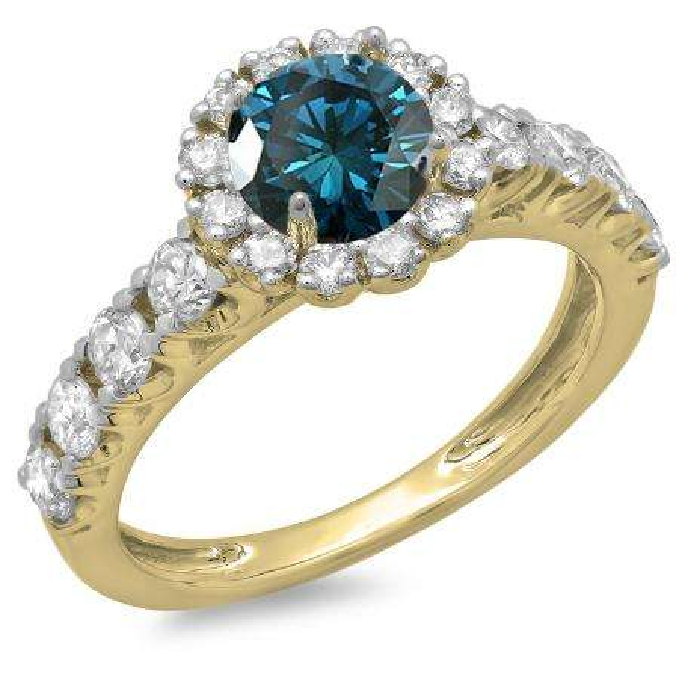 1.35 Carat (ctw) 14K Yellow Gold Round Cut Blue & White Diamond Ladies Bridal Cluster Halo Style Engagement Ring