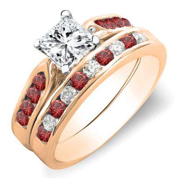 1.00 Carat (ctw) 10k Rose Gold Princess & Round Cut White Diamond & Red Ruby Ladies Bridal Engagement Ring Set With Matching Band 1 CT