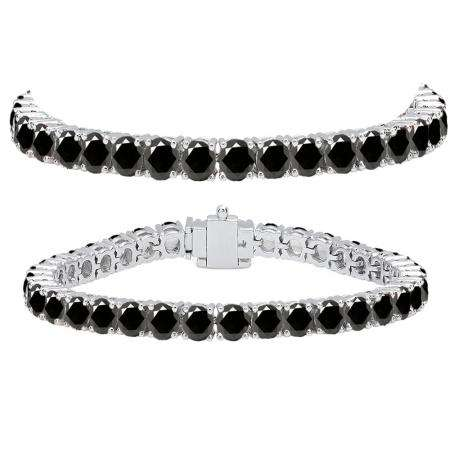 15.00 Carat (ctw) 10K White Gold Round Cut Real Black Diamond Ladies Tennis Bracelet 15 CT