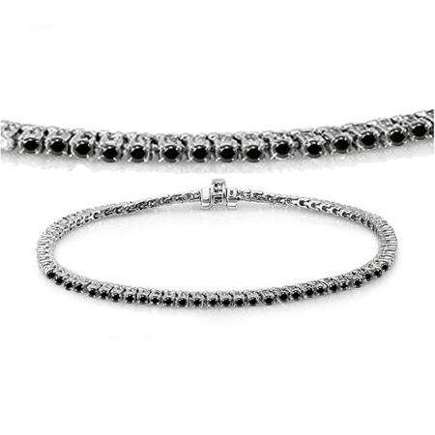 2.00 Carat (ctw) 10K White Gold Round Cut Real Black Diamond Ladies Tennis Bracelet 2 CT