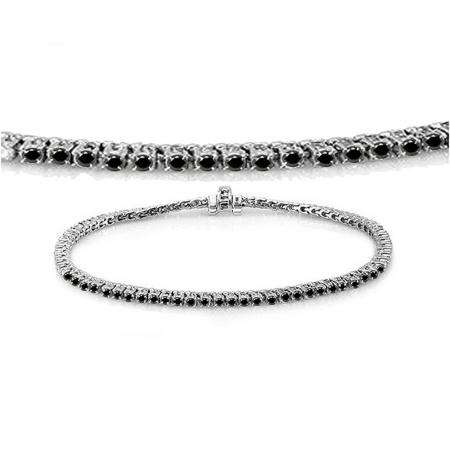 1.50 Carat (ctw) 10K White Gold Round Cut Real Black Diamond Ladies Tennis Bracelet 1 1/2 CT