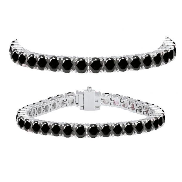 12.00 Carat (ctw) 14K White Gold Round Cut Real Black Diamond Ladies Tennis Bracelet 12 CT
