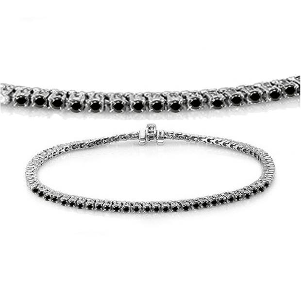 2.00 Carat (ctw) 14K White Gold Round Cut Real Black Diamond Ladies Tennis Bracelet 2 CT