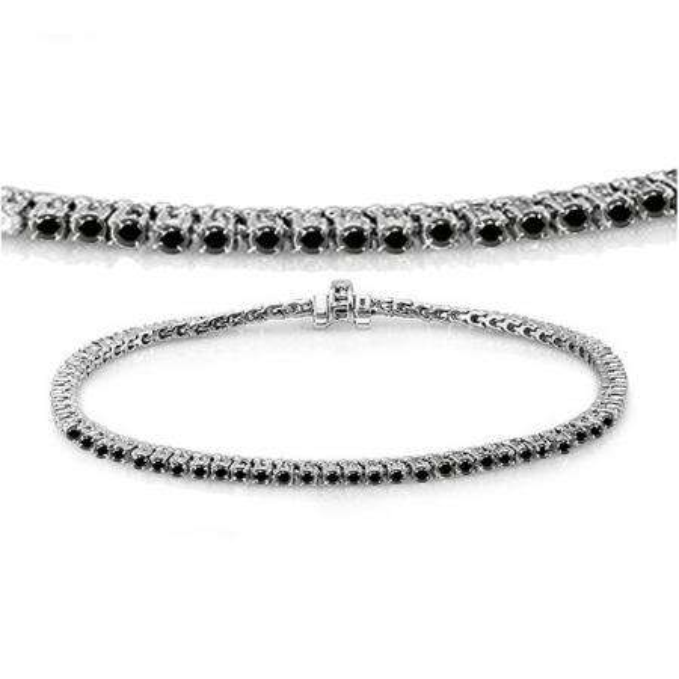 3.00 Carat (ctw) 18K White Gold Round Cut Real Black Diamond Ladies Tennis Bracelet 3 CT