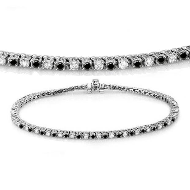 3.00 Carat (ctw) 10K White Gold Round Cut Real Black And White Diamond Ladies Tennis Bracelet 3 CT