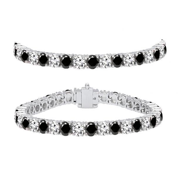 10.00 Carat (ctw) 14K White Gold Round Cut Real Black And White Diamond Ladies Tennis Bracelet 10 CT