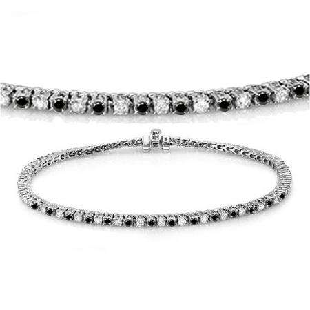 3.00 Carat (ctw) 14K White Gold Round Cut Real Black And White Diamond Ladies Tennis Bracelet 3 CT