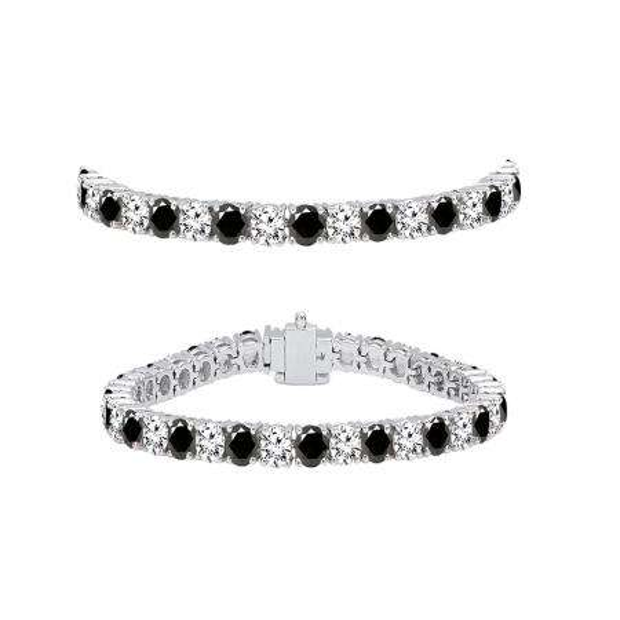 5.00 Carat (ctw) 14K White Gold Round Cut Real Black And White Diamond Ladies Tennis Bracelet 5 CT