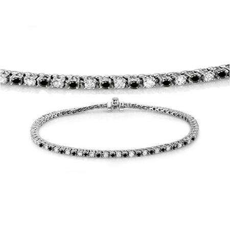 1.50 Carat (ctw) 14K White Gold Round Cut Real Black And White Diamond Ladies Tennis Bracelet 1 1/2 CT