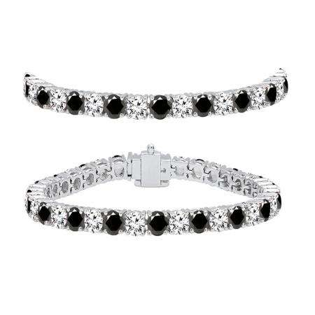 10.00 Carat (ctw) 18K White Gold Round Cut Real Black And White Diamond Ladies Tennis Bracelet 10 CT
