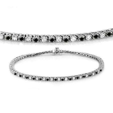 2.00 Carat (ctw) 18K White Gold Round Cut Real Black And White Diamond Ladies Tennis Bracelet 2 CT