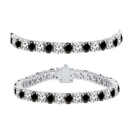 8.00 Carat (ctw) 18K White Gold Round Cut Real Black And White Diamond Ladies Tennis Bracelet 8 CT