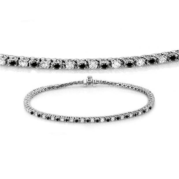 1.50 Carat (ctw) 18K White Gold Round Cut Real Black And White Diamond Ladies Tennis Bracelet 1 1/2 CT
