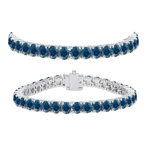 10.00 Carat (ctw) 10K White Gold Round Cut Real Blue Diamond Ladies Tennis Bracelet 10 CT