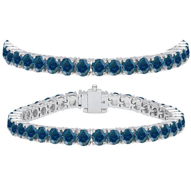 15.00 Carat (ctw) 10K White Gold Round Cut Real Blue Diamond Ladies Tennis Bracelet 15 CT