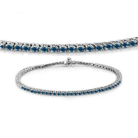 1.50 Carat (ctw) 10K White Gold Round Cut Real Blue Diamond Ladies Tennis Bracelet 1 1/2 CT