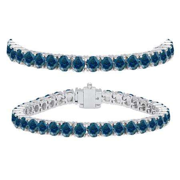 12.00 Carat (ctw) 14K White Gold Round Cut Real Blue Diamond Ladies Tennis Bracelet 12 CT