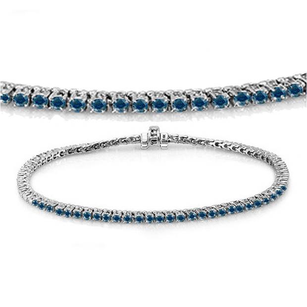 3.00 Carat (ctw) 14K White Gold Round Cut Real Blue Diamond Ladies Tennis Bracelet 3 CT