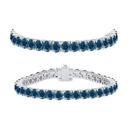 8.00 Carat (ctw) 14K White Gold Round Cut Real Blue Diamond Ladies Tennis Bracelet 8 CT
