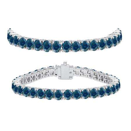 10.00 Carat (ctw) 18K White Gold Round Cut Real Blue Diamond Ladies Tennis Bracelet 10 CT