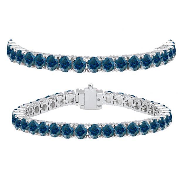 12.00 Carat (ctw) 18K White Gold Round Cut Real Blue Diamond Ladies Tennis Bracelet 12 CT