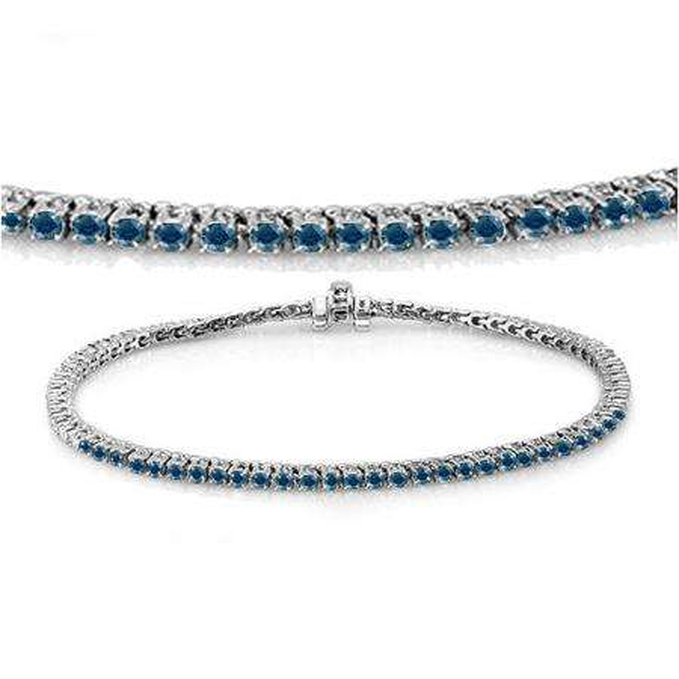2.00 Carat (ctw) 18K White Gold Round Cut Real Blue Diamond Ladies Tennis Bracelet 2 CT