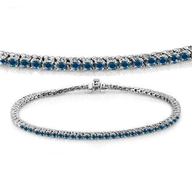 3.00 Carat (ctw) 18K White Gold Round Cut Real Blue Diamond Ladies Tennis Bracelet 3 CT