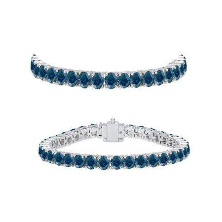 5.00 Carat (ctw) 18K White Gold Round Cut Real Blue Diamond Ladies Tennis Bracelet 5 CT