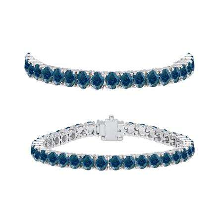7.00 Carat (ctw) 18K White Gold Round Cut Real Blue Diamond Ladies Tennis Bracelet 7 CT