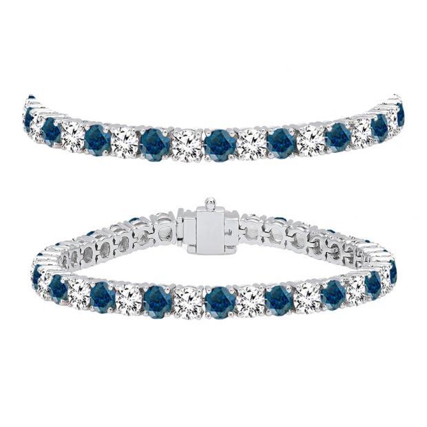 12.00 Carat (ctw) 10K White Gold Round Cut Real Blue And White Diamond Ladies Tennis Bracelet 12 CT