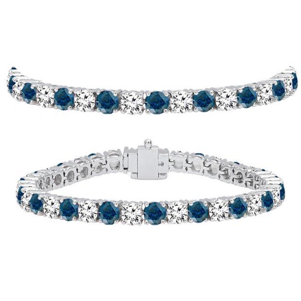 15.00 Carat (ctw) 10K White Gold Round Cut Real Blue And White Diamond Ladies Tennis Bracelet 15 CT