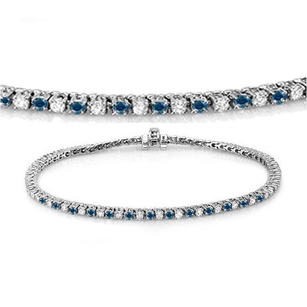 2.00 Carat (ctw) 10K White Gold Round Cut Real Blue And White Diamond Ladies Tennis Bracelet 2 CT