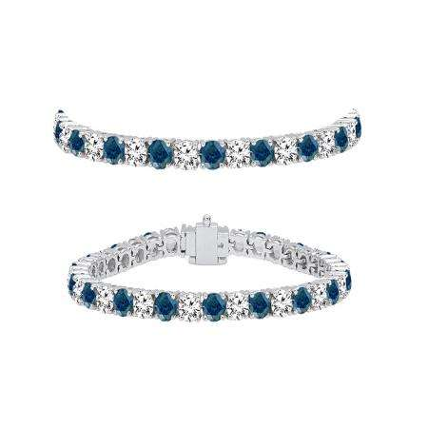 5.00 Carat (ctw) 10K White Gold Round Cut Real Blue And White Diamond Ladies Tennis Bracelet 5 CT