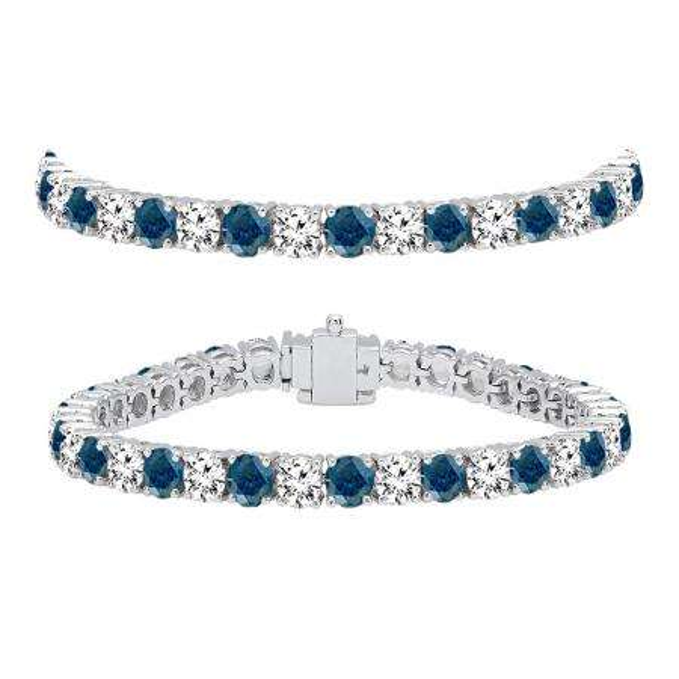 12.00 Carat (ctw) 14K White Gold Round Cut Real Blue And White Diamond Ladies Tennis Bracelet 12 CT