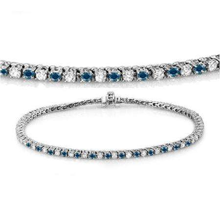 2.75 Carat (ctw) 14K White Gold Round Cut Real Blue And White Diamond Ladies Tennis Bracelet