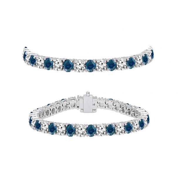 5.00 Carat (ctw) 14K White Gold Round Cut Real Blue And White Diamond Ladies Tennis Bracelet 5 CT
