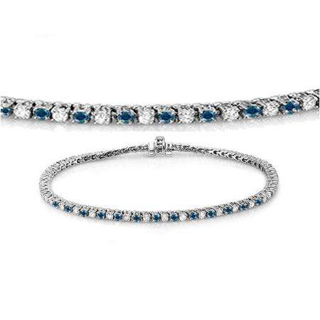 1.50 Carat (ctw) 14K White Gold Round Cut Real Blue And White Diamond Ladies Tennis Bracelet 1 1/2 CT