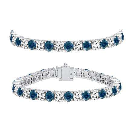 10.00 Carat (ctw) 18K White Gold Round Cut Real Blue And White Diamond Ladies Tennis Bracelet 10 CT