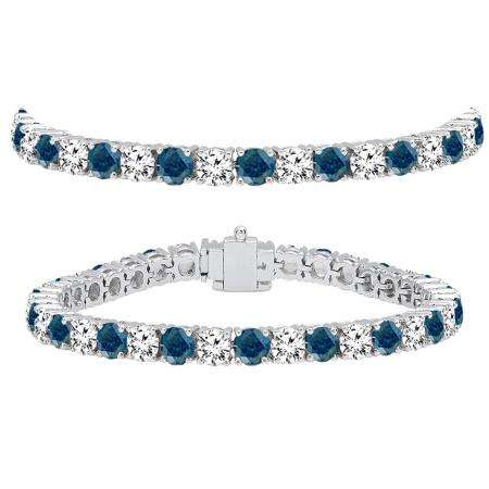 15.00 Carat (ctw) 18K White Gold Round Cut Real Blue And White Diamond Ladies Tennis Bracelet 15 CT