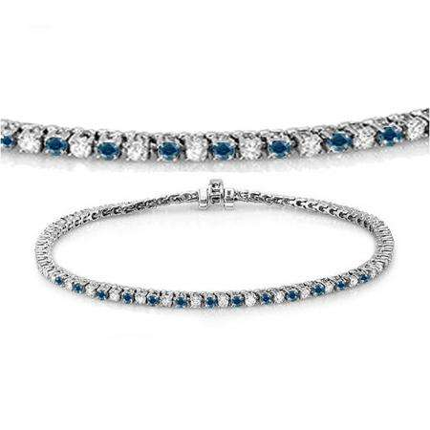 2.00 Carat (ctw) 18K White Gold Round Cut Real Blue And White Diamond Ladies Tennis Bracelet 2 CT