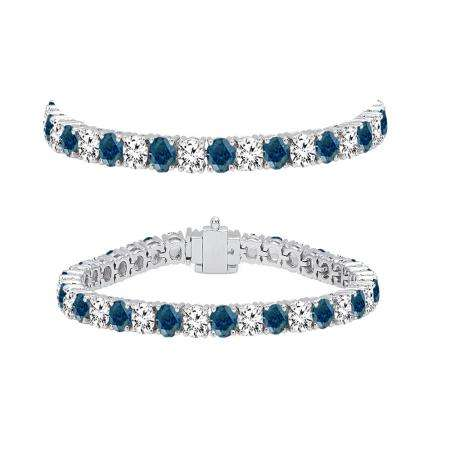 7.00 Carat (ctw) 18K White Gold Round Cut Real Blue And White Diamond Ladies Tennis Bracelet 7 CT