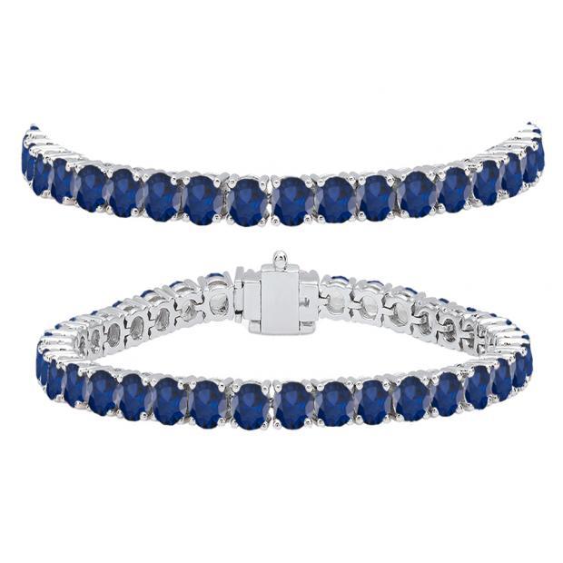 12.00 Carat (ctw) 10K White Gold Round Cut Real Blue Sapphire Ladies Tennis Bracelet 12 CT