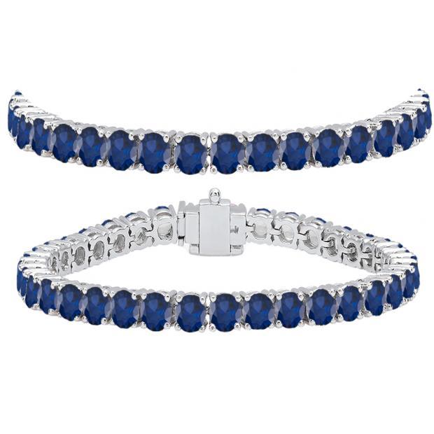 15.00 Carat (ctw) 10K White Gold Round Cut Real Blue Sapphire Ladies Tennis Bracelet 15 CT