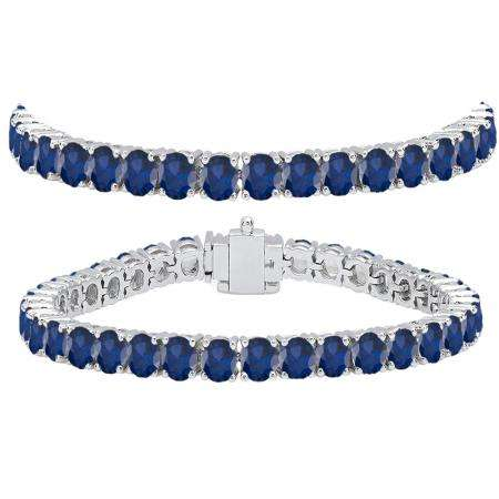 15.00 Carat (ctw) 10K White Gold Round Cut Real Blue Sapphire Ladies Tennis Bracelet 15 CT
