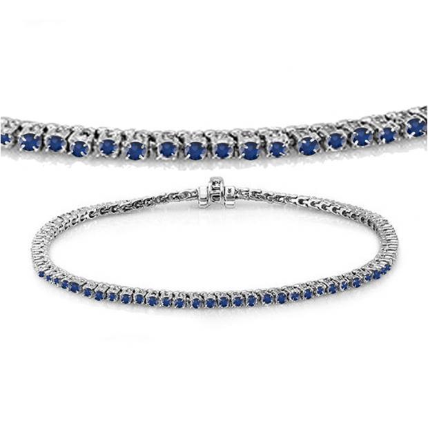 2.00 Carat (ctw) 10K White Gold Round Cut Real Blue Sapphire Ladies Tennis Bracelet 2 CT